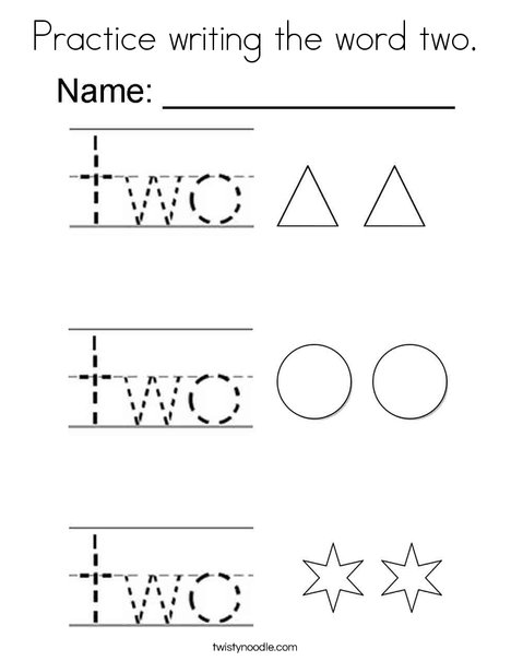 Practice writing the word two. Coloring Page