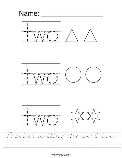 Practice writing the word two. Worksheet