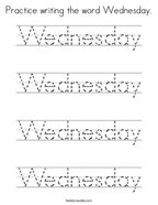 Practice writing the word Wednesday Coloring Page