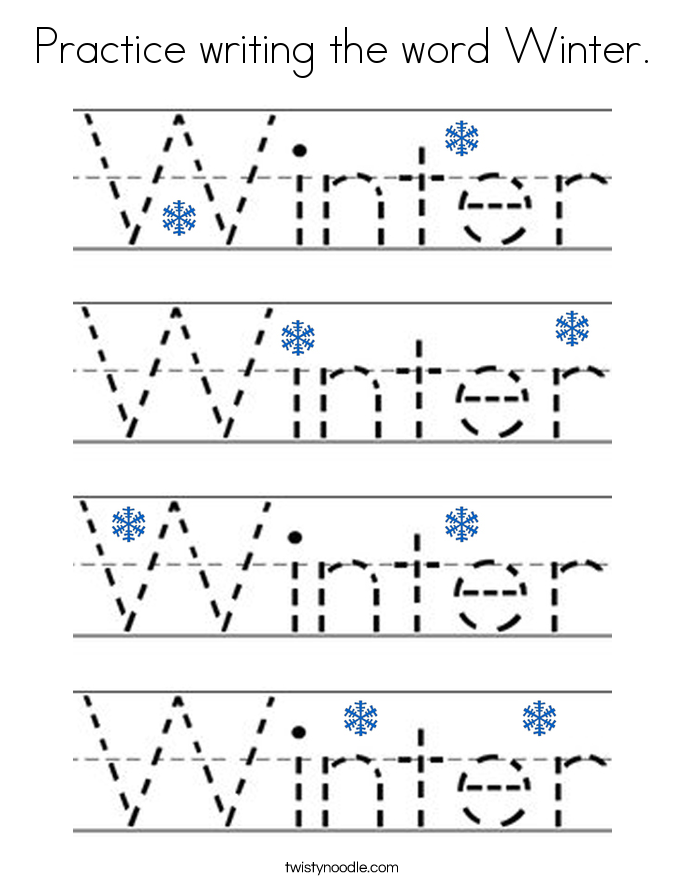 Practice writing the word Winter. Coloring Page