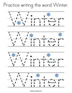 Practice writing the word Winter Coloring Page