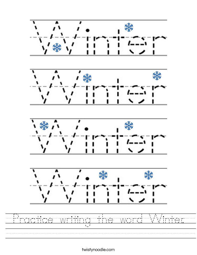practice writing the word winter worksheet twisty noodle. Black Bedroom Furniture Sets. Home Design Ideas