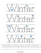 Practice writing the word Winter Handwriting Sheet