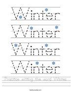 Practice writing the word Winter Handwriting Sheet