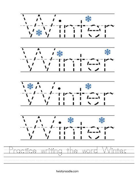 Practice writing the word Winter. Worksheet