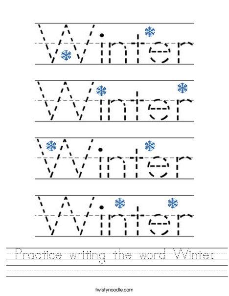 Practice writing the word Winter. Worksheet