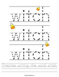 Practice writing the word witch. Worksheet