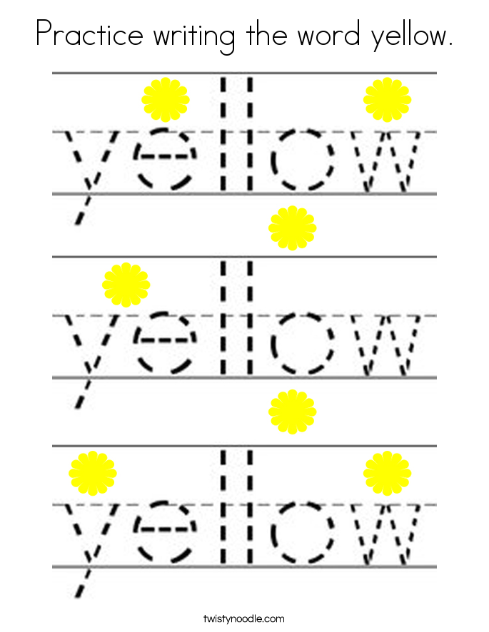 Practice writing the word yellow. Coloring Page