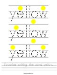 Practice writing the word yellow. Worksheet