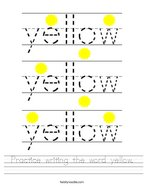 Practice writing the word yellow Handwriting Sheet