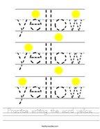Practice writing the word yellow Handwriting Sheet