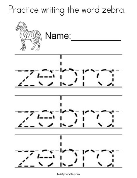 Practice writing the word zebra. Coloring Page