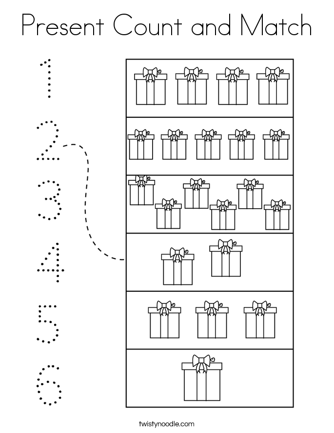 Present Count and Match Coloring Page