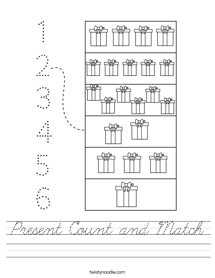 Present Count and Match Worksheet