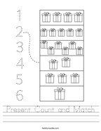 Present Count and Match Handwriting Sheet