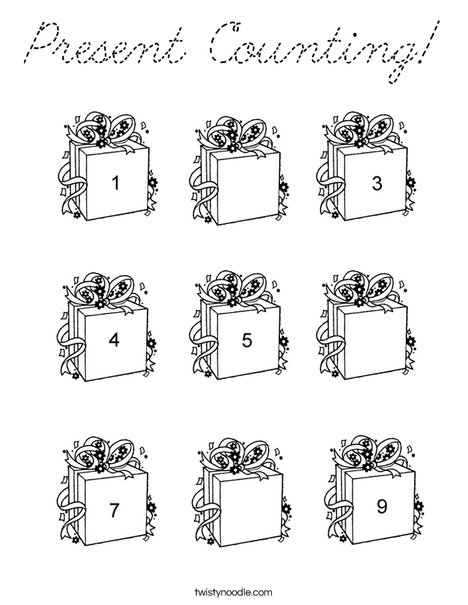 Present Counting Coloring Page