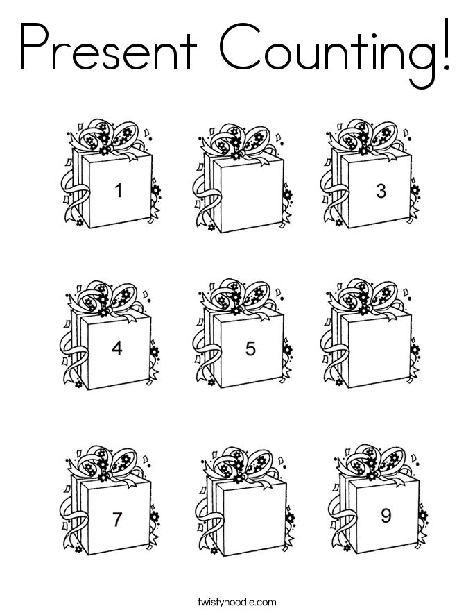 Present Counting! Coloring Page