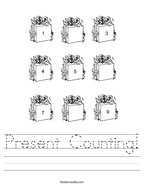 Present Counting Handwriting Sheet