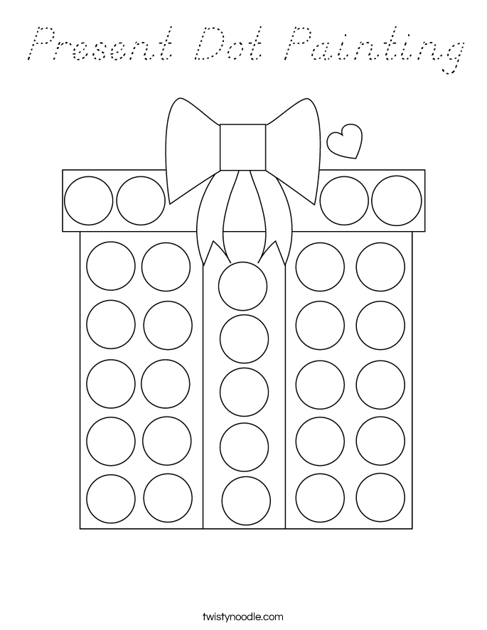 Present Dot Painting Coloring Page