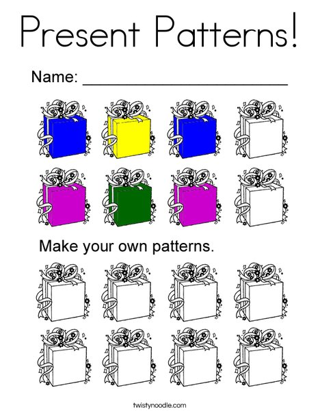 Present Patterns Coloring Page