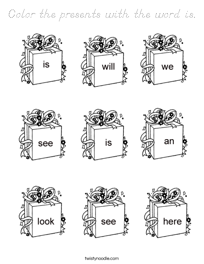 Color the presents with the word is. Coloring Page