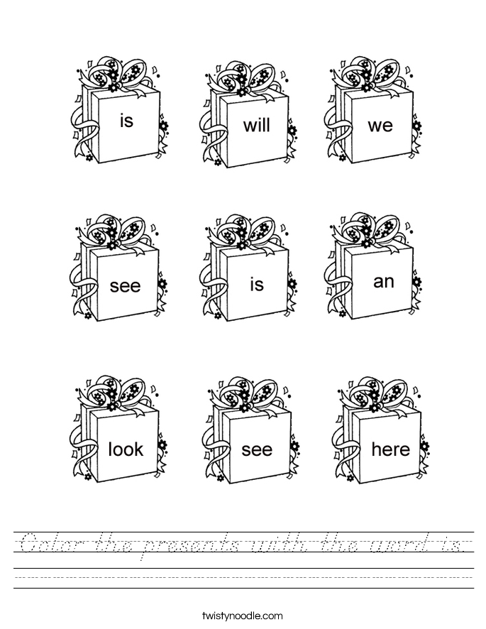Color the presents with the word is. Worksheet