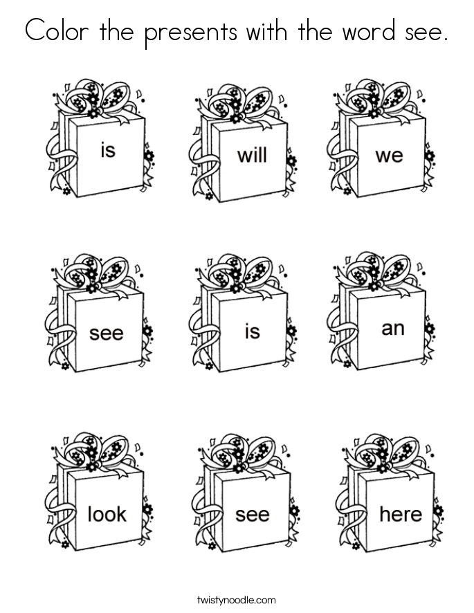 Color the presents with the word see. Coloring Page.