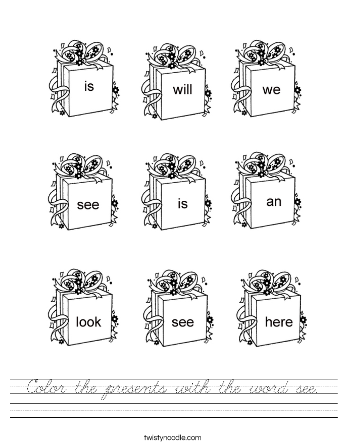 Color the presents with the word see. Worksheet