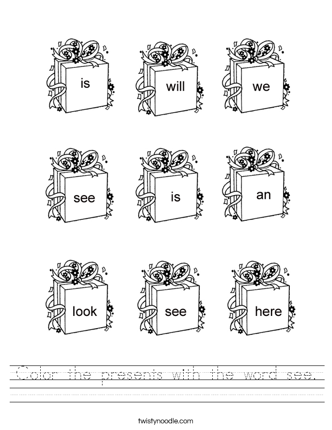 presents Noodle worksheets Worksheet with d'nealian word the  word Color  sight  the see Twisty