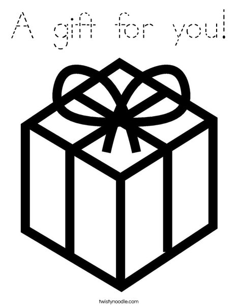 Present with Bow Coloring Page