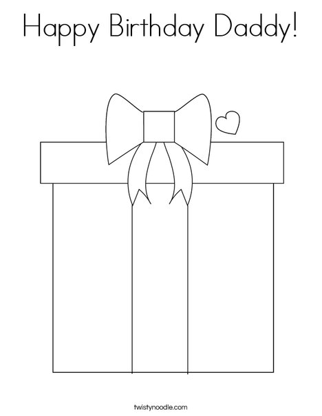 present coloring page - Birthday Coloring Pages Daddy