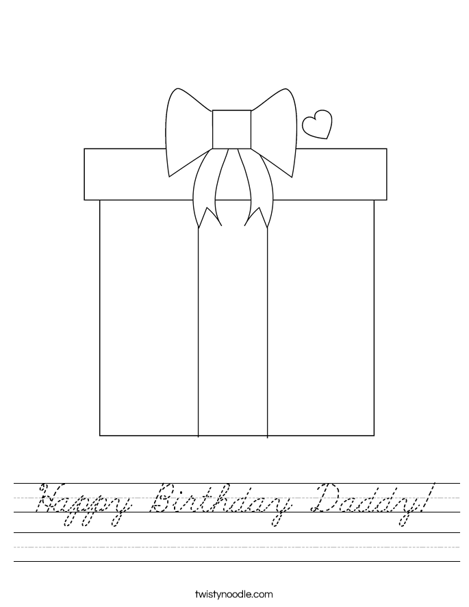 Happy Birthday Daddy! Worksheet