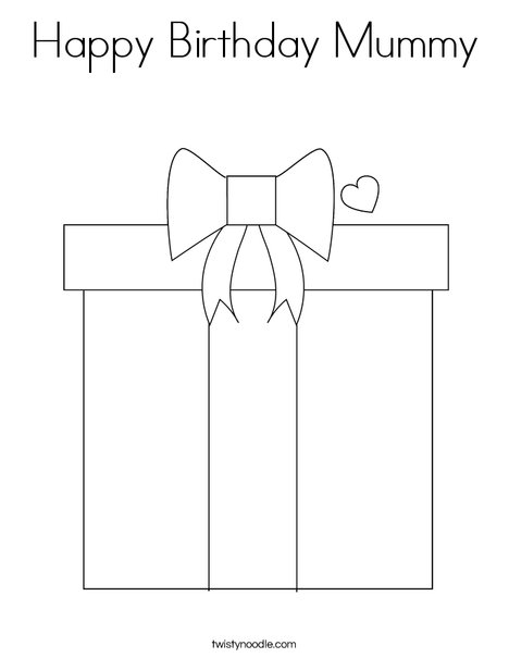 Happy Birthday Mummy Coloring Page
