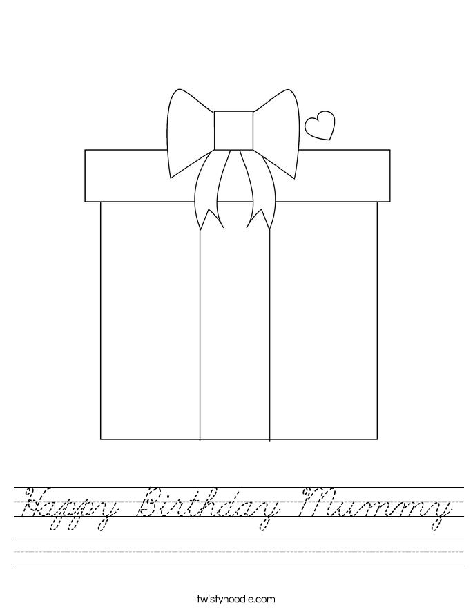 Happy Birthday Mummy Worksheet - Cursive - Twisty Noodle