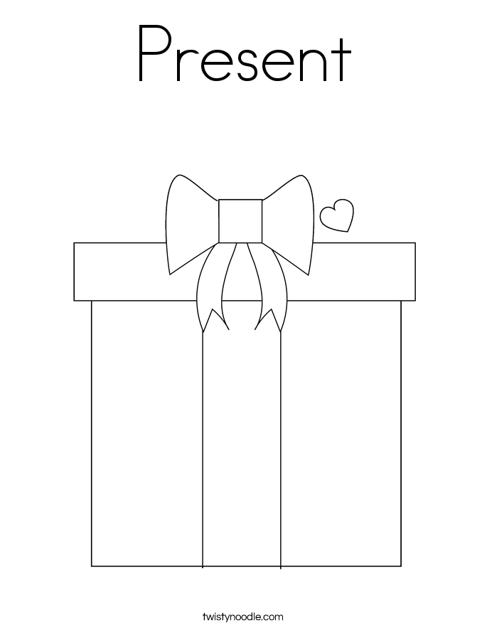 present coloring page twisty noodle - Christmas Present Coloring Pages