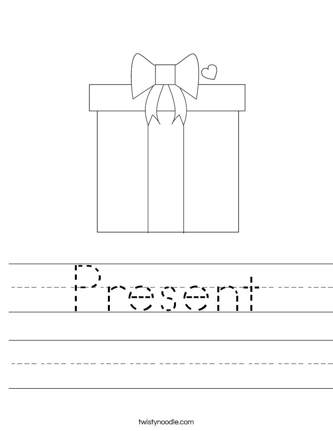present worksheet twisty noodle. Black Bedroom Furniture Sets. Home Design Ideas