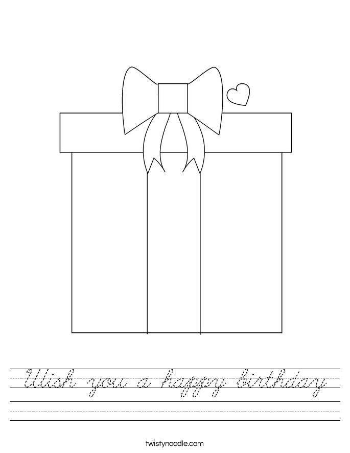 Wish you a happy birthday Worksheet
