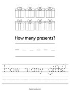 How many gifts Handwriting Sheet