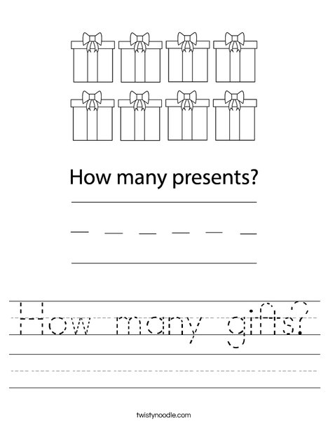 how many gifts worksheet twisty noodle. Black Bedroom Furniture Sets. Home Design Ideas