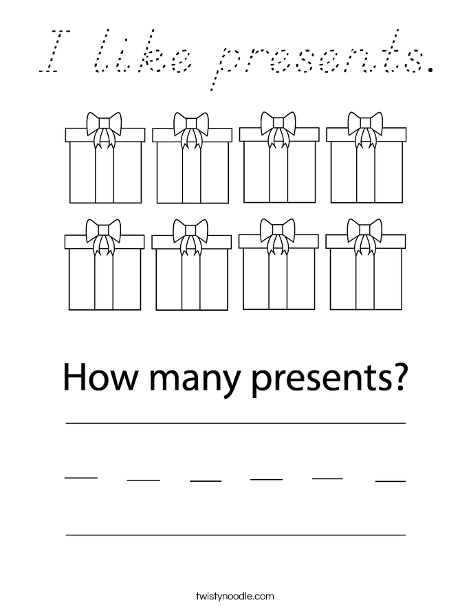 I like presents. Coloring Page