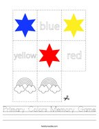 Primary Colors Memory Game Handwriting Sheet