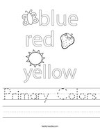 Primary Colors Handwriting Sheet
