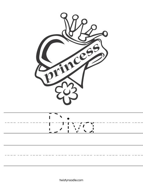 Heart with Crown Worksheet