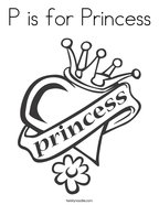 P is for Princess Coloring Page