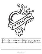 P is for Princess Handwriting Sheet