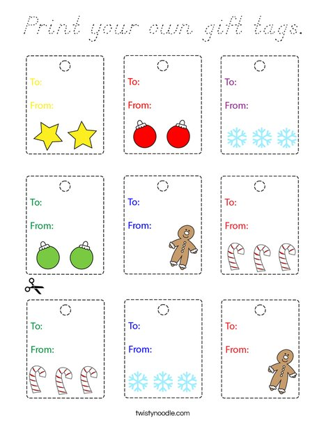 Print your own gift tags. Coloring Page