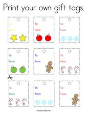 Print your own gift tags Coloring Page