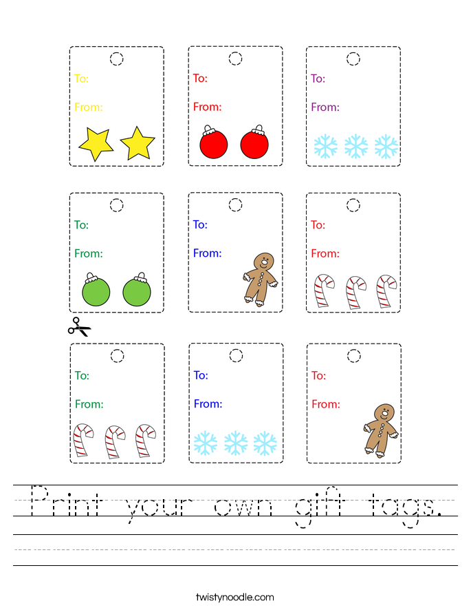 Print your own gift tags. Worksheet