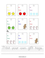 Print your own gift tags Handwriting Sheet