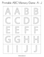 Printable ABC Memory Game-A-J Coloring Page